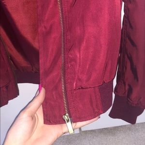 Francesca's Collections Jackets & Coats - Gently used maroon red bomber jacket